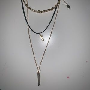 Triple layer necklace with feather (*ADD ON)